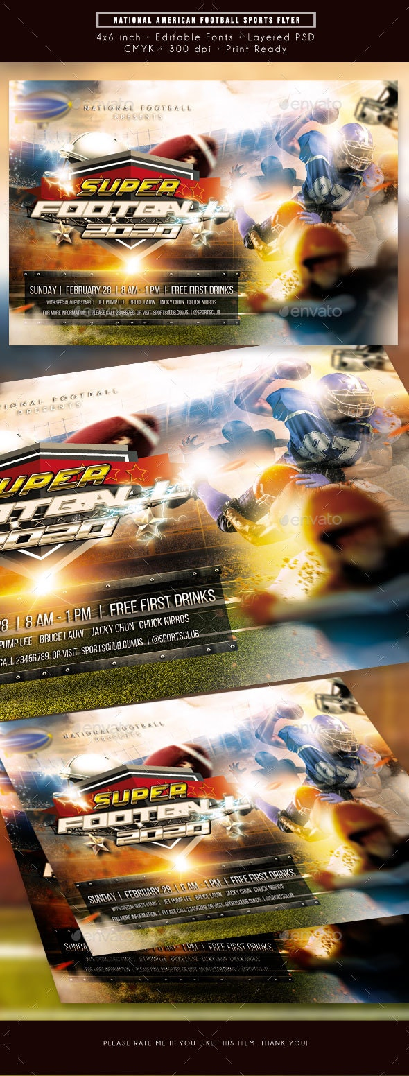 National American Football Sports Flyer - Sports Events