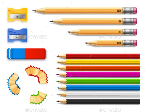 Colored Pencils, Sharpeners and Eraser Set - Objects Vectors