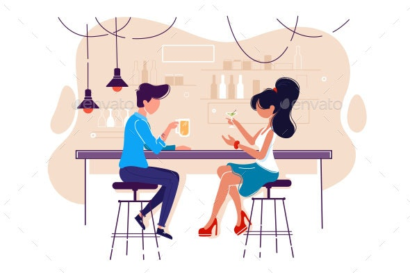 Flat Young Man and Woman on Date with Drink in Bar - Food Objects