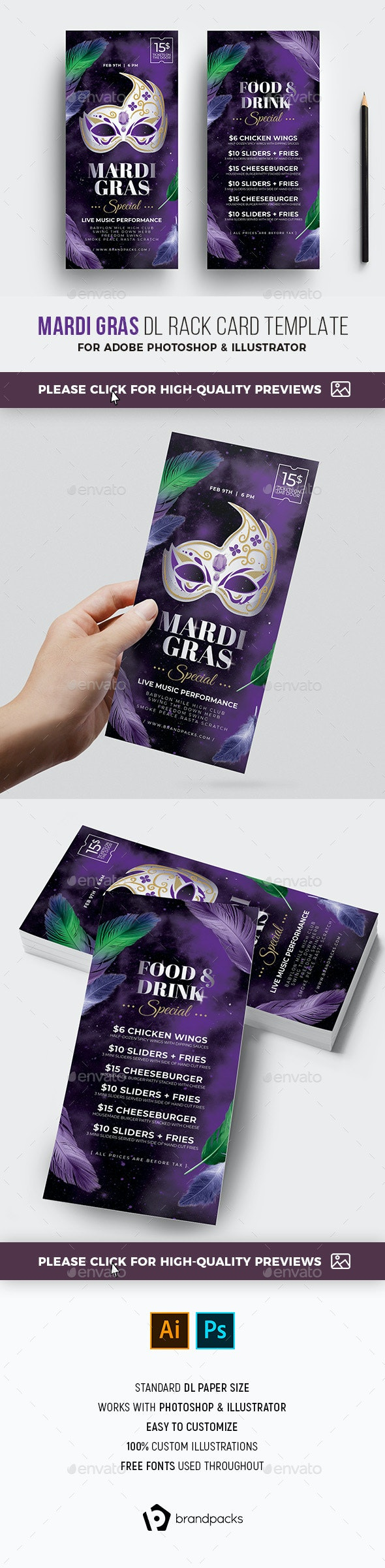 Mardi Gras DL Rack Card - Holidays Events
