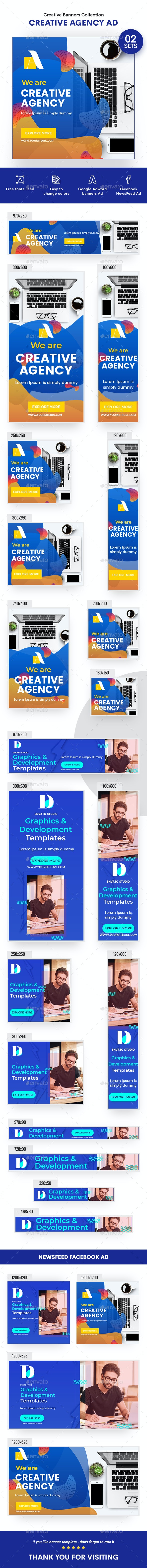 Multipurpose, Creative, Startup Agency Banners Ad - 02 Sets - Banners & Ads Web Elements