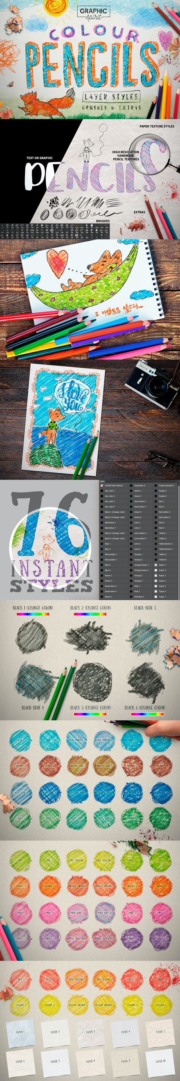 Colour Pencil Box Photoshop Styles - Text Effects Styles