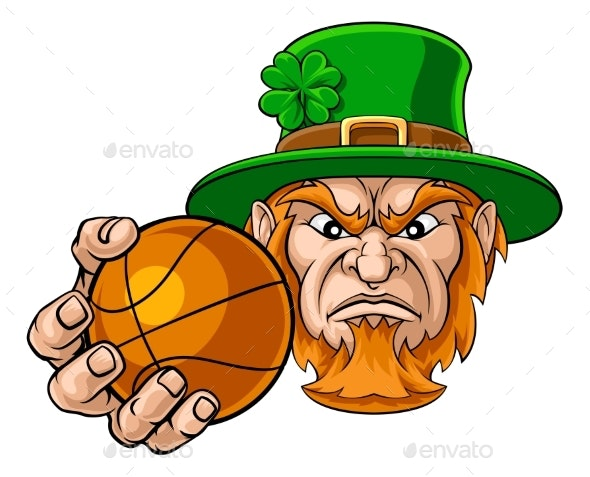 Leprechaun Holding Basketball Sports Mascot - Sports/Activity Conceptual