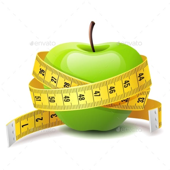 Realistic Green Apple with Measure Tape, Fitness