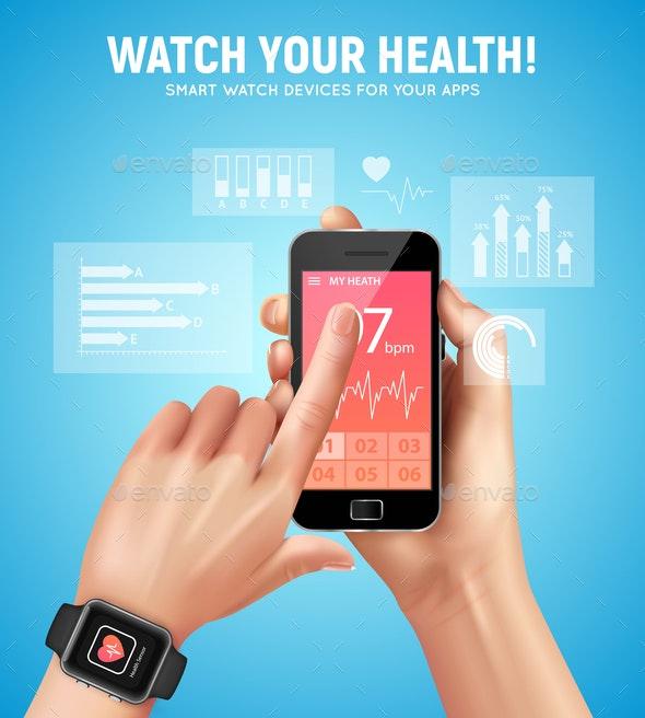Realistic Smart Watch Health Composition - Sports/Activity Conceptual