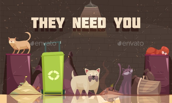 Homeless Animals Flat Poster - Animals Characters