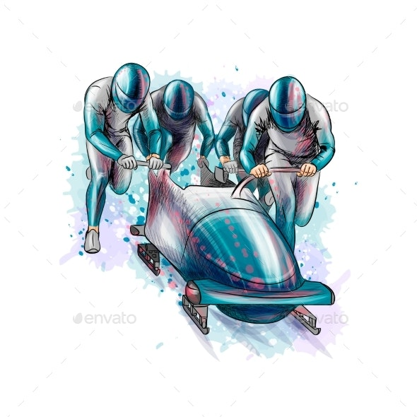 Bobsleigh for Four Athletes - Sports/Activity Conceptual