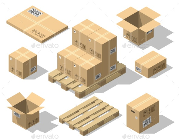 Cardboard Boxes and Wood Pallet Isometric Set - Industries Business