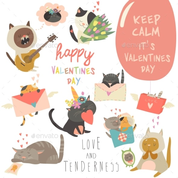 Set of Vector Cartoon Characters Cats in Love - Animals Characters