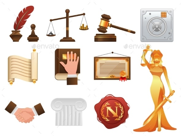 Law Justice and Order Realistic Icons Set - Miscellaneous Vectors