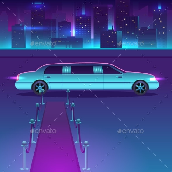 Limousine with a Red Carpet at Night Vector - Man-made Objects Objects