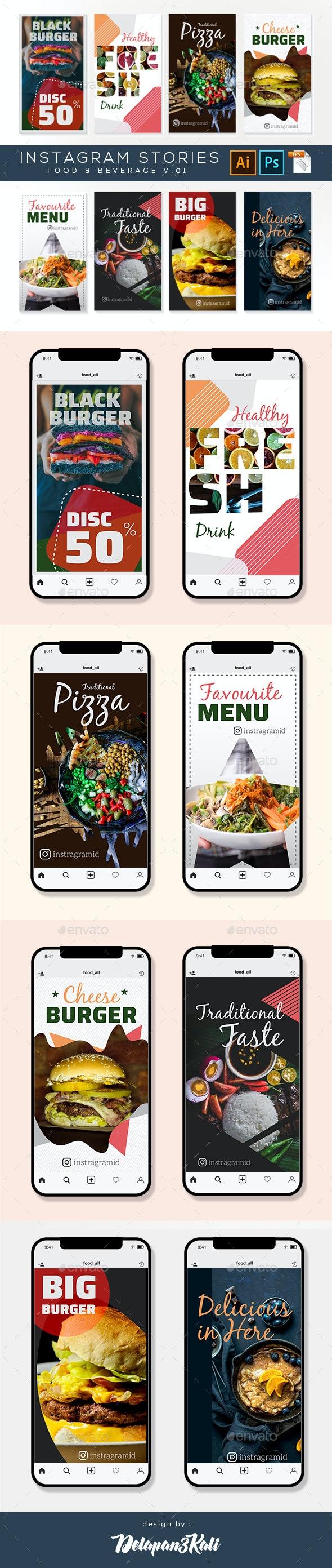 Instagram Stories – Food and Beverage v.04 - Social Media Web Elements