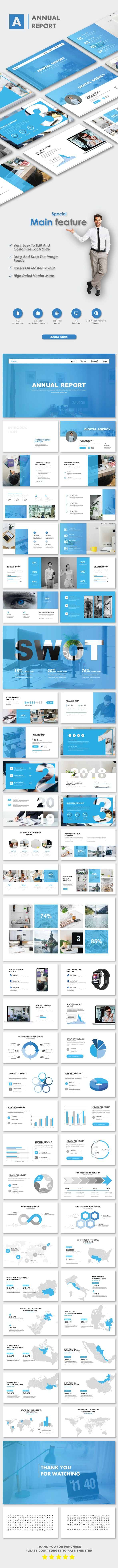 Annual Report 2019 Business Google Slide Templates - Google Slides Presentation Templates