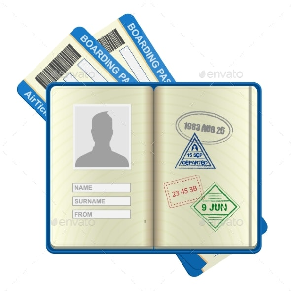 Open Foreign Passport and Airline Tickets - Travel Conceptual