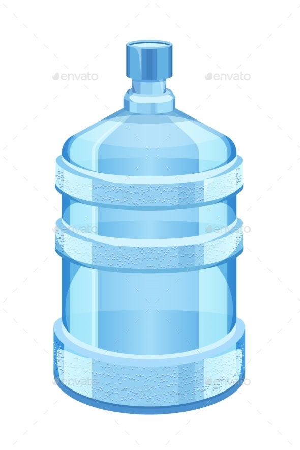 Cooler Water Bottle Isolated on White Vector - Man-made Objects Objects