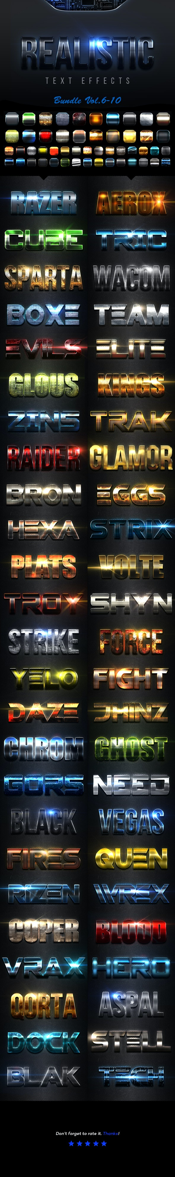 Realistic Text Effects Bundle II - Text Effects Styles