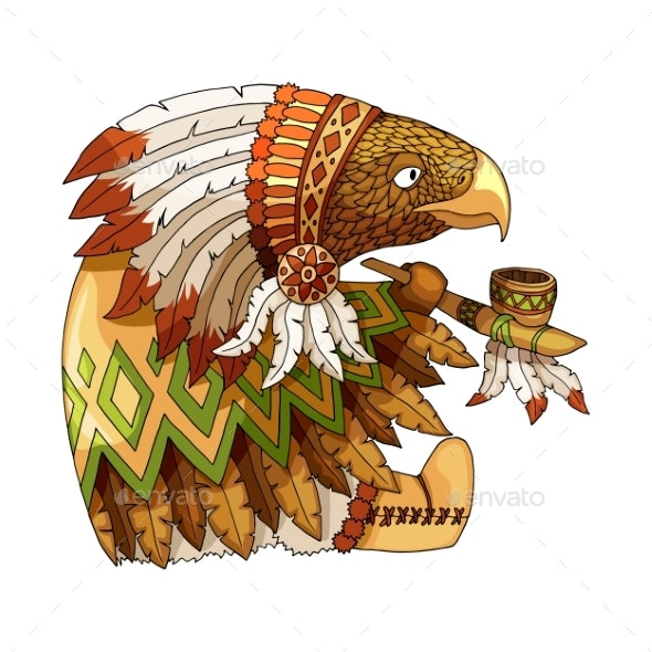 Cartoon Colored Character American Eagle - Animals Characters