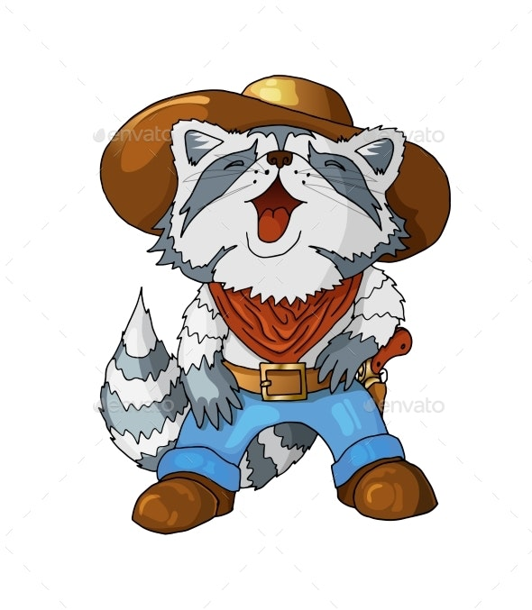Cartoon Colored Character American Cowboy Laughing - Animals Characters