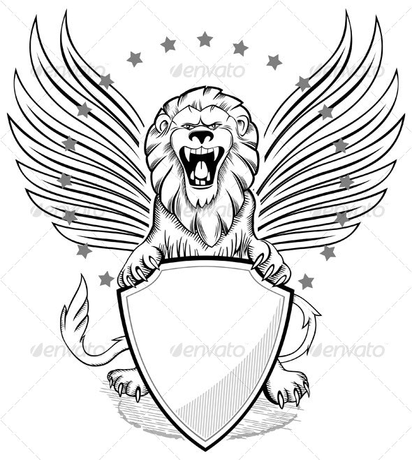 Roaring Winged Lion - Tattoos Vectors