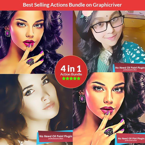 Vector Painting - 4in1 Photoshop Actions Bundle