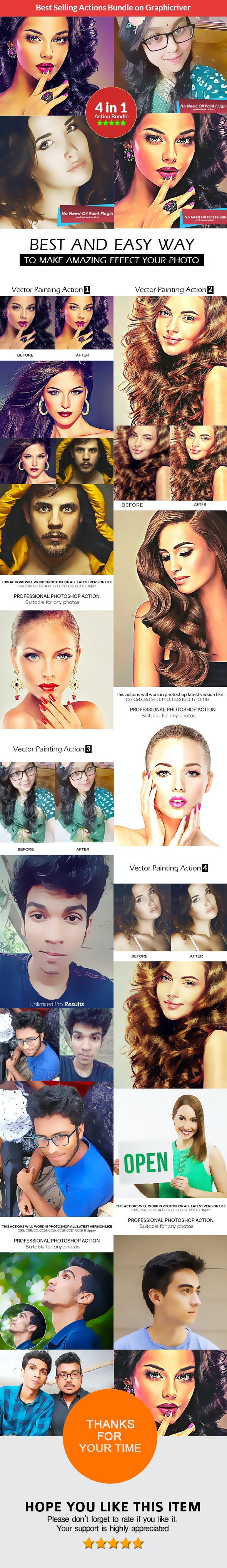 Vector Painting - 4in1 Photoshop Actions Bundle - Photo Effects Actions