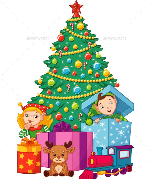 Christmas Tree with Elves - Christmas Seasons/Holidays