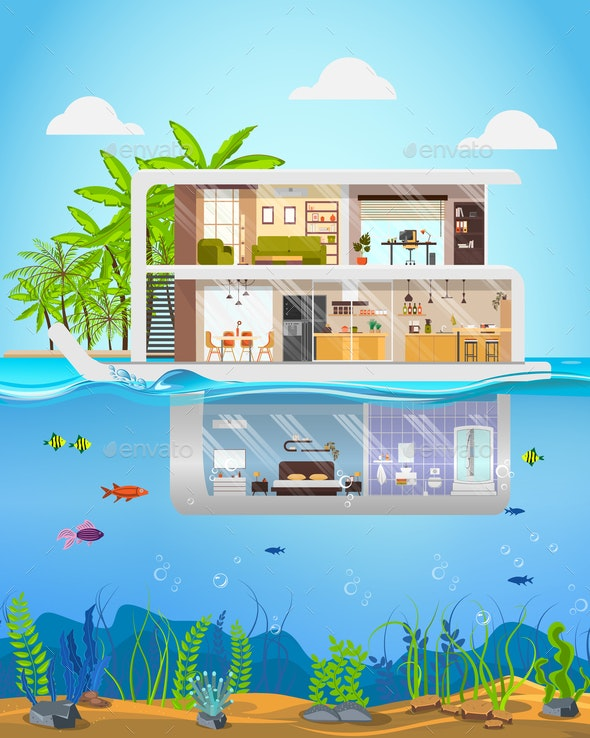 Luxury Mansion on Tropical Seacoast Flat Vector - Buildings Objects