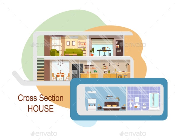 Futuristic House Cross Section Vector Interiors - Buildings Objects