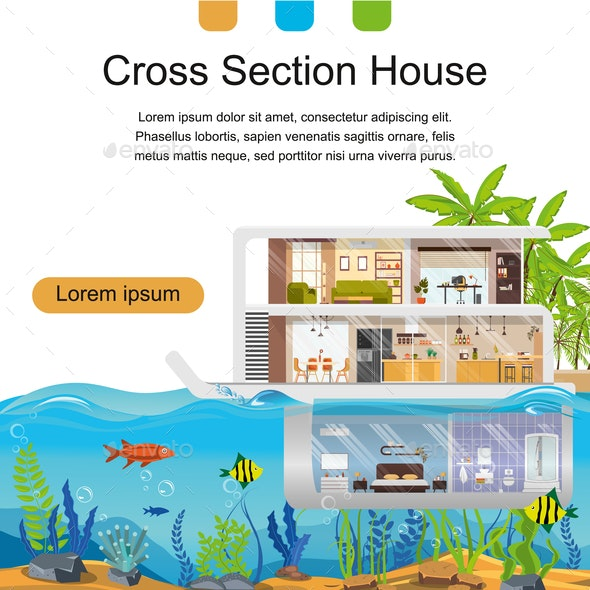 Real Estate Company Flat Vector Landing Page - Buildings Objects