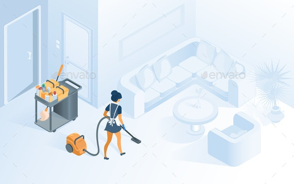 Cleaning Hotel Room Service Isometric Vector - Business Conceptual
