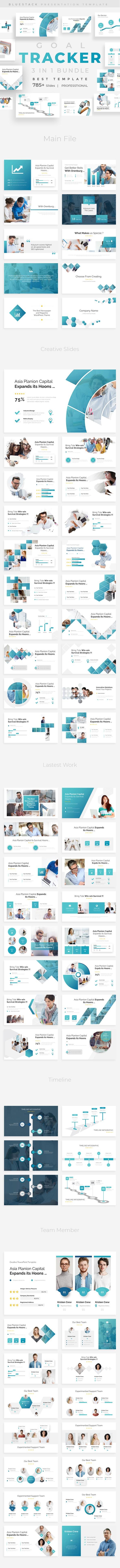 Goals Tracker 3 in 1 Pitch Deck Bundle Powerpoint Template Template - Business PowerPoint Templates