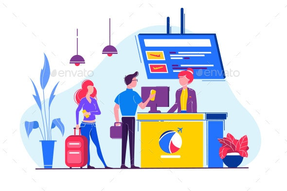 Young Man and Woman with Bag Check in Plane - Travel Conceptual