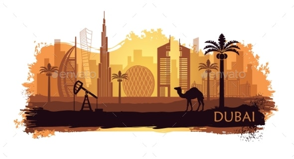 Stylized Kyline of Dubai with Camel and Date Palm - Buildings Objects
