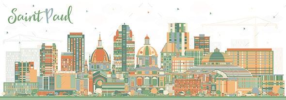 Saint Paul Minnesota City Skyline with Color Buildings - Buildings Objects