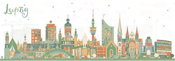 Leipzig Germany City Skyline with Color Buildings - Buildings Objects