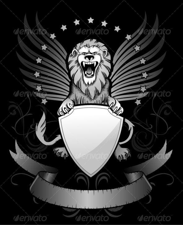 Roaring Winged Lion - Tattoos Vectors