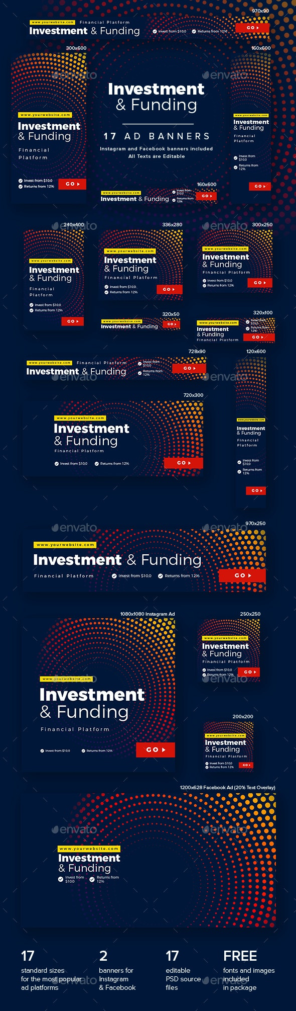Investment and Funding Ad Banners - Banners & Ads Web Elements