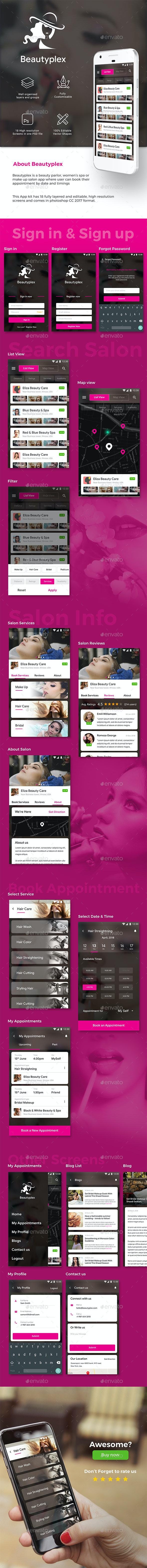 Multiple Salon App UI kit | 18 PSD Screens - User Interfaces Web Elements