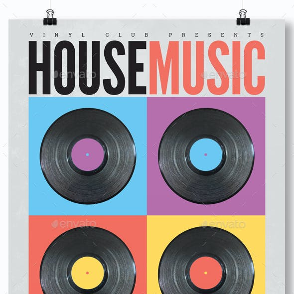 Retro House Music Party Flyer / Poster Template A3
