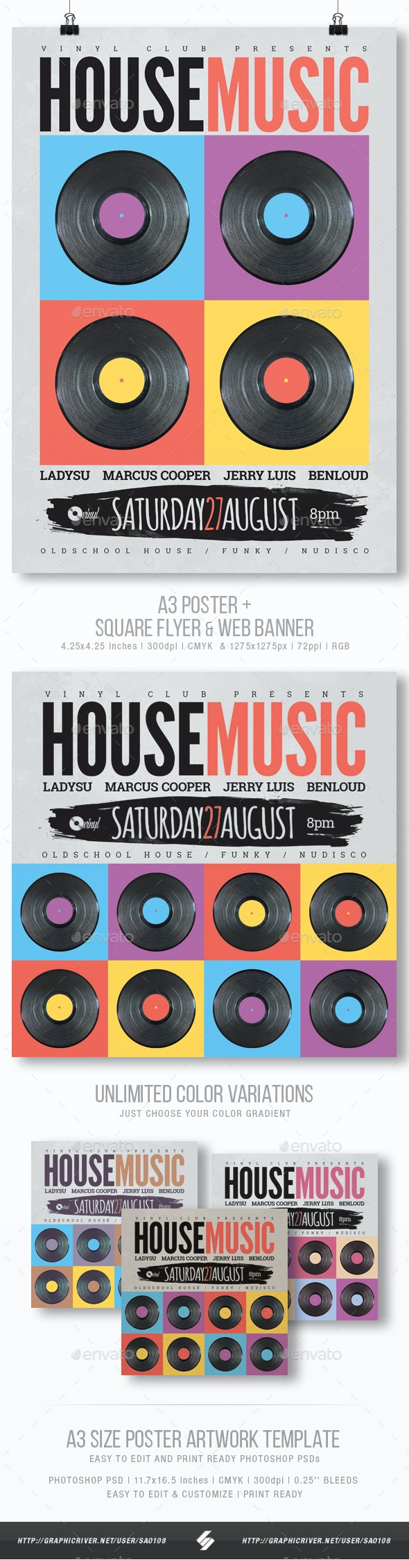 Retro House Music Party Flyer / Poster Template A3 - Clubs & Parties Events