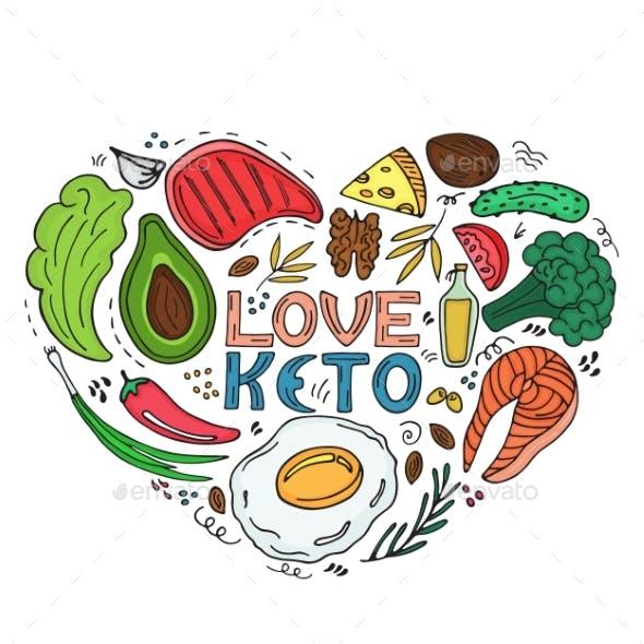 Love Keto - Hand Drawn Inscription Ketogenic Diet