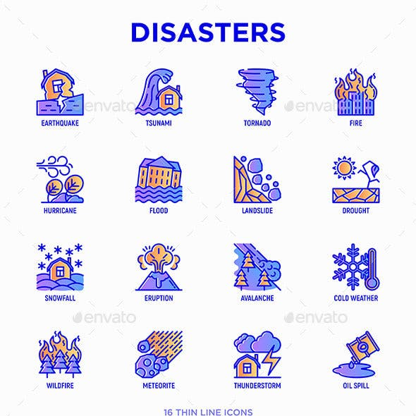 Disasters | 16 Thin Line Icons Set