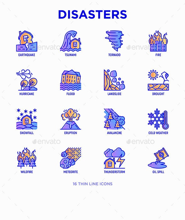 Disasters | 16 Thin Line Icons Set - Miscellaneous Icons