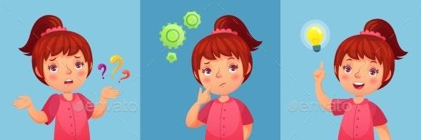 Worried Little Girl - People Characters