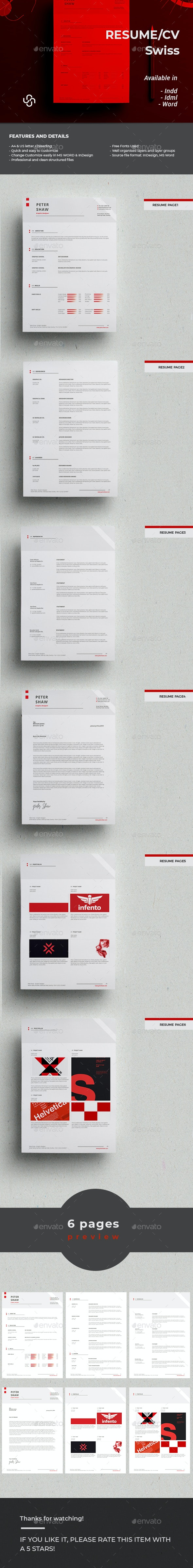 Swiss Resume Template - Resumes Stationery