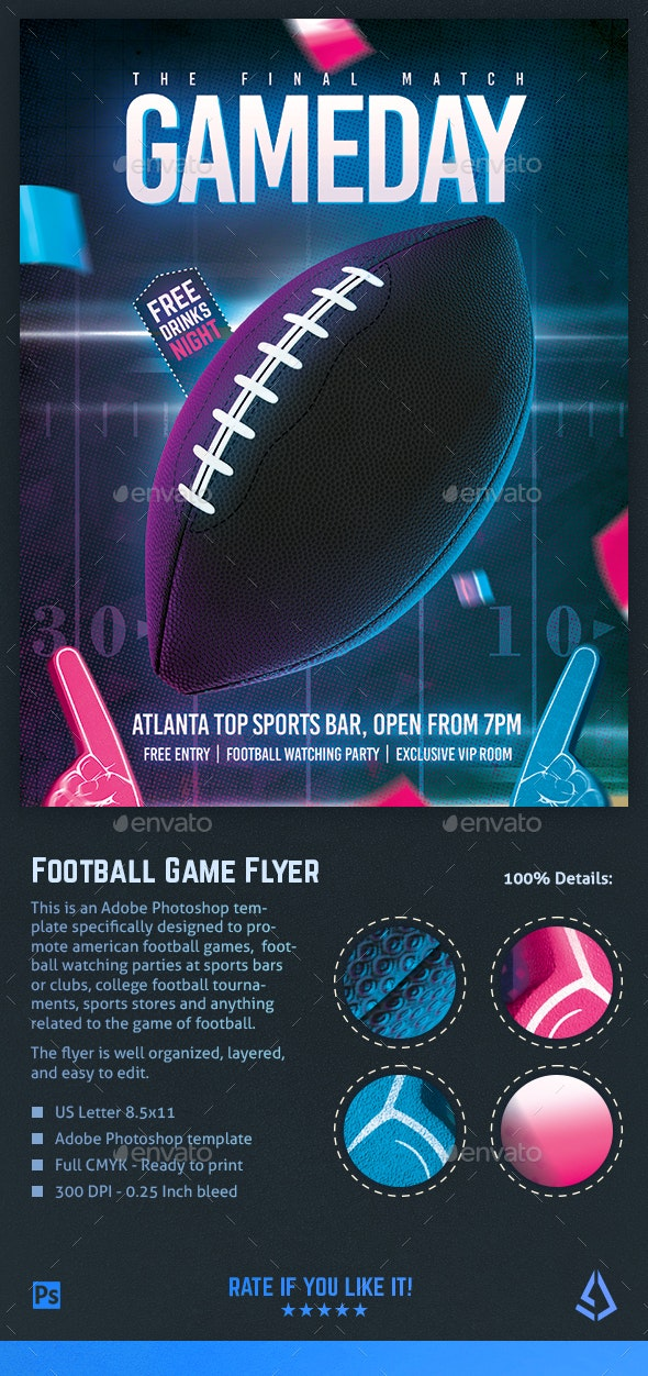 American Football Flyer College Superball Watch Party Template - Sports Events