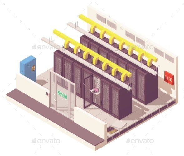 Vector Isometric Server Room - Computers Technology