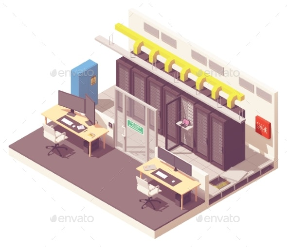 Vector Isometric Data Center Interior - Computers Technology