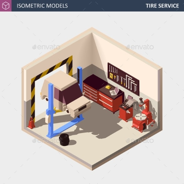 Vector Isometric Auto or Car Service Center - Services Commercial / Shopping