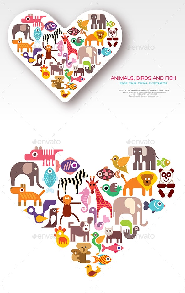 Animals, Birds and Fish heart shape vector design - Animals Characters